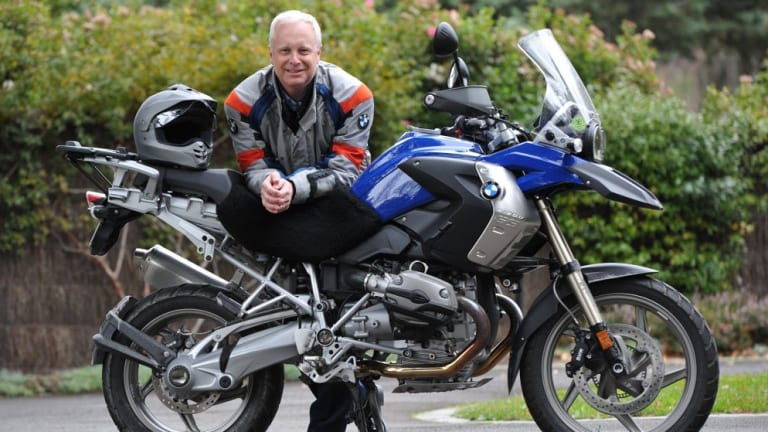 Long ride: Mark Binskin, with his BMW, is helping to raise money for the Prostate Cancer Foundation of Australia.