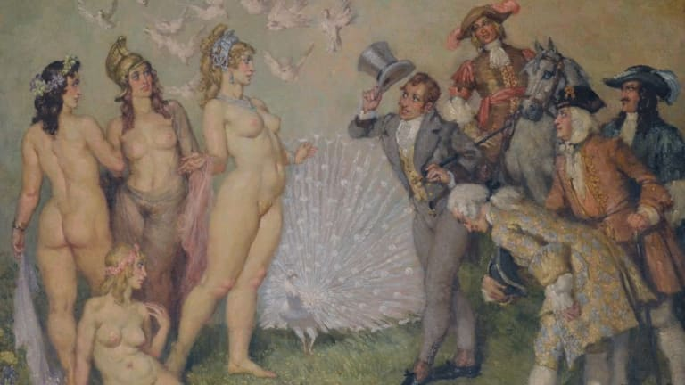 Main attraction: Norman Lindsay's The Introduction is among the paintings up for auction in the Bill and Eileen Cammack Collection.