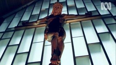 The crucifix at St Peter's Memorial Lutheran Church at Reid.