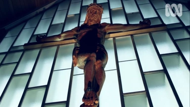 The crucifix at St Peter's Memorial Lutheran Church at Reid.