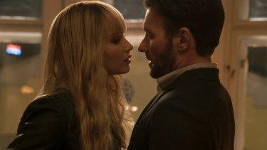 Fascinating spy thriller: Jennifer Lawrence and Joel Edgerton in <i>Red Sparrow</i>.