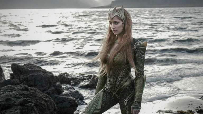 Amber Heard in costume for her new film, <i>Aquaman</i>.