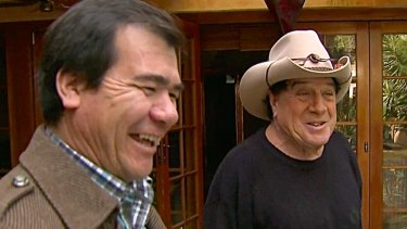 Arif Fayarzi with Molly Meldrum in <i>Freedom Stories</i>. One of Arif's first jobs in Australia was tiling the swimming pool at Meldrum's house.