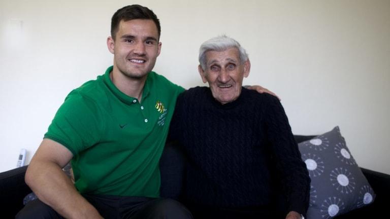 Pioneer: Joe Marston with Socceroos star Bailey Wright in 2014.