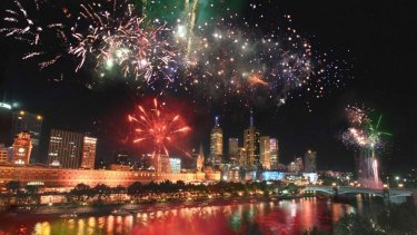Fireworks over Melbourne CBD on New Years Eve.