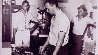 Well engineered: Owen Gray (left), Graeme Goodall (centre), Clement 'œCoxsone' Dodd (right) at Federal Studios, circa 1961.