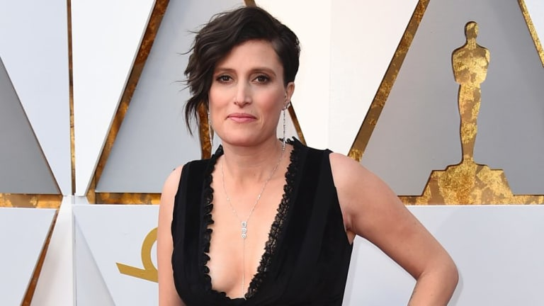 Rachel Morrison arrives at the Oscars. Morrison is the first female cinematographer nominated for an Oscar.