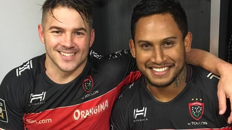 Drew Mitchell and Ben Barba after Barba's debut for Toulon.