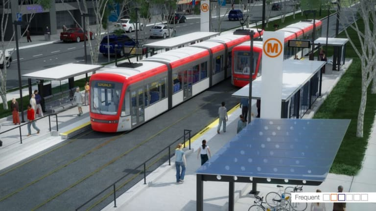 Artist's impressions of the proposed Capital Metro light rail.
