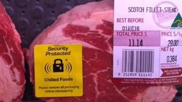 The security tags have started appearing on meat trays at the Coles Knox store.