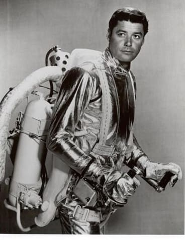 As seen on TV: John Robinson suited up with a fictional jetpack in 1965 for <i>Lost in Space</i>.