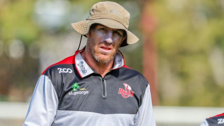 Commando ethos: Brad Thorn appears to cut a serious figure during Reds training at Ballymore.