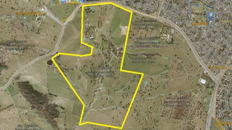 The approximate area of 'Pine Ridge' in Belconnen, which the ACT government has bought for $4.6 million.