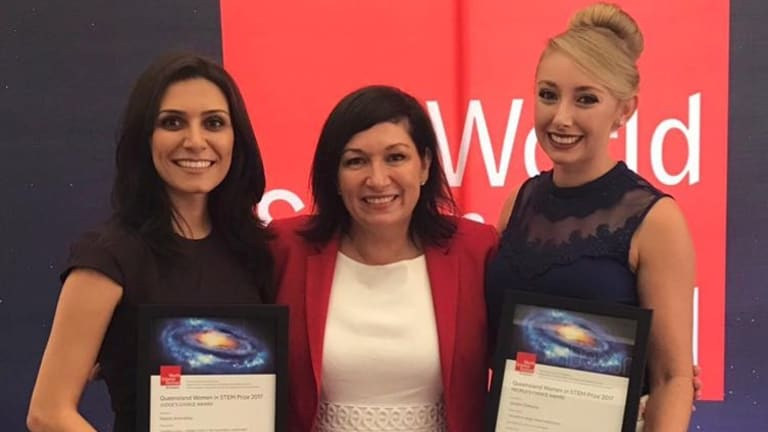 Dr Nasim Amiralian, left, and Jordan DeBono, right, with Minister for Science Leeanne Enoch
