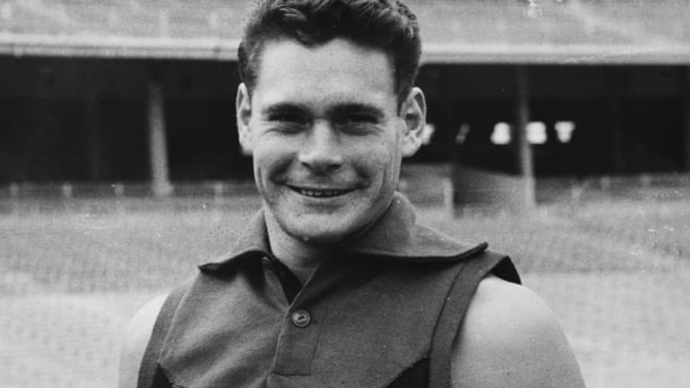 A photo of Ron Barassi taken from a scrapbook compiled by his mother Elza. The scrapbook features original black and white photos of Barassi's life in the '50s and '60s. Estimate: $1000-$2000.