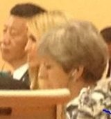 Taking her father's seat: Ivanka Trump, seated between China's presdient Xi Jinping and Britain's Theresa May.