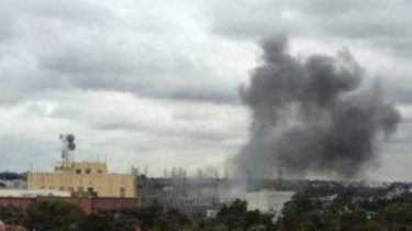 Smoke can been seen billowing after a large explosion in Richmond on Tuesday afternoon.