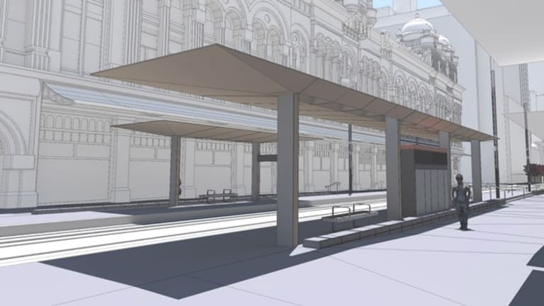 An artist's impression of the proposed shelters outside the QVB on George Street.