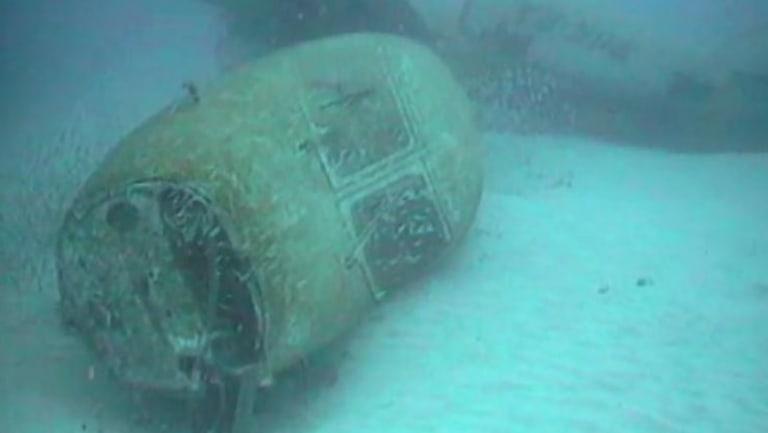 Wreckage of the sunken plane off Norfolk Island