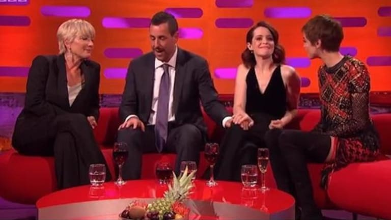 """Sandler's """"friendly gesture"""" towards Claire Foy sparked outrage among viewers."""