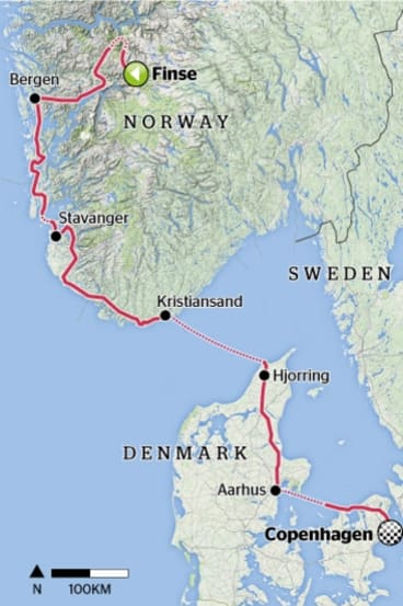 Rough guide: the approximate route from Finse to Copenhagen.