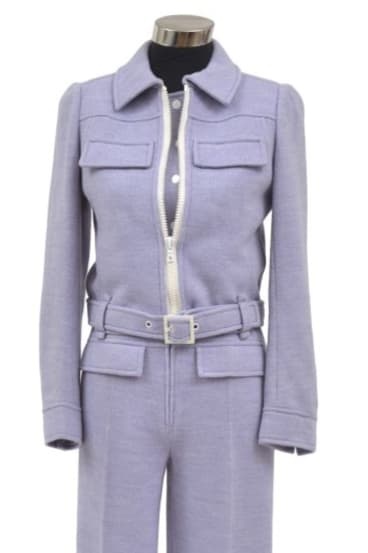 Jumpsuit style: A lilac Courrèges cotton and polyester jacket with a sleeveless jumpsuitfrom circa 1965.
