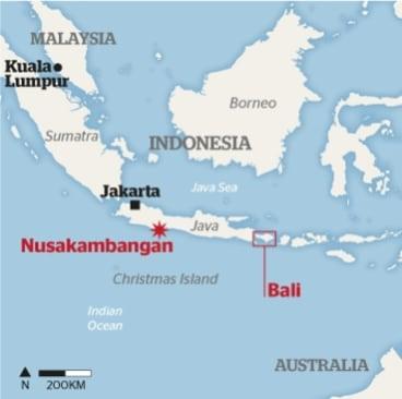Nusakambangan on the map.