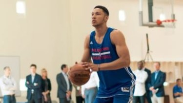 Inevitable conclusion: Ben Simmons works out in 76ers gear.