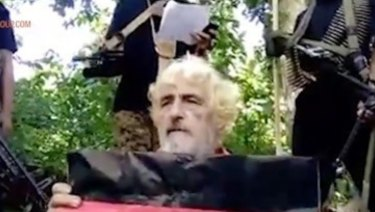 Undated image made from militant video shows German hostage Jurgen Kantner at an undisclosed location.