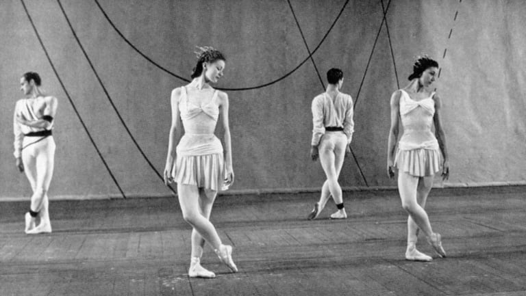 The original cast of <i>Symphonic Variations</i> rehearsing in 1946.