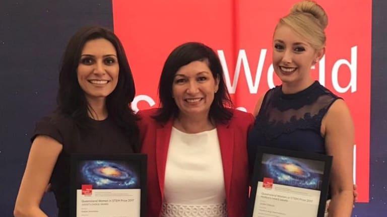 Dr Nasim Amiralian and Jordan DeBono take out the Queensland Women in STEM Awards