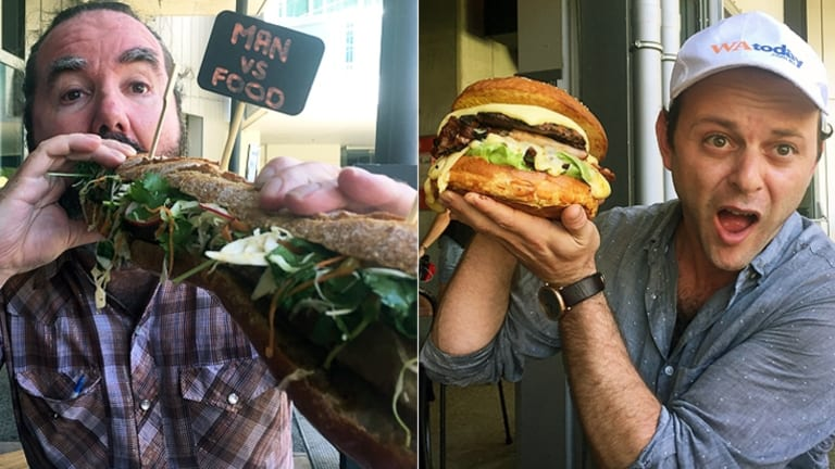 Brendan tackles the 45cm baguette, while I battle the 1kg angus beef burger.