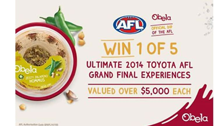Obela Hommus is the official dip of the AFL.