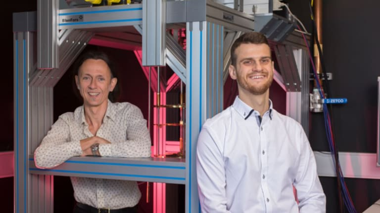 New quantum architecture revealed by Guilherme Tosi (right) and Andrea Morello, researchers at the University of NSW.