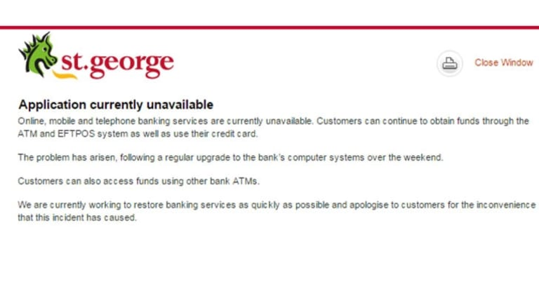 The message displayed on Monday when users tried to log in.