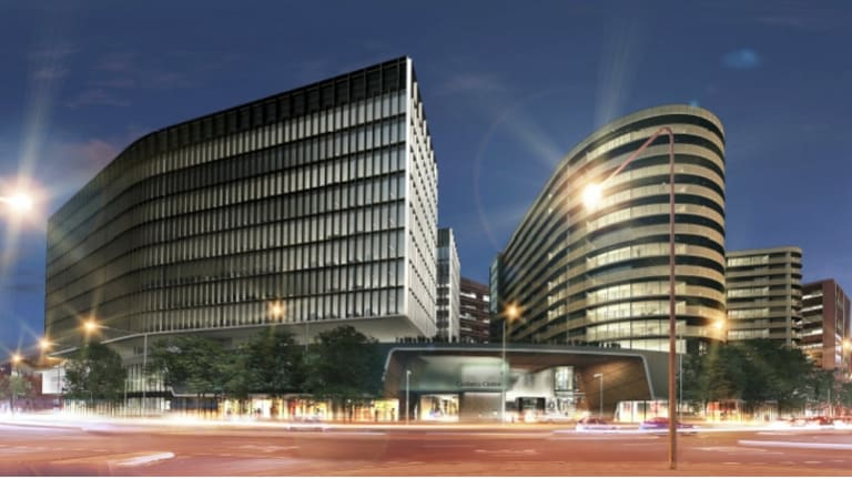 An artist's impression of QIC's proposed section 96 development looking from Donaldson St, with the the office tower at left, the apartment tower at right, and the entrance to the mall off Cooyong St in the centre.