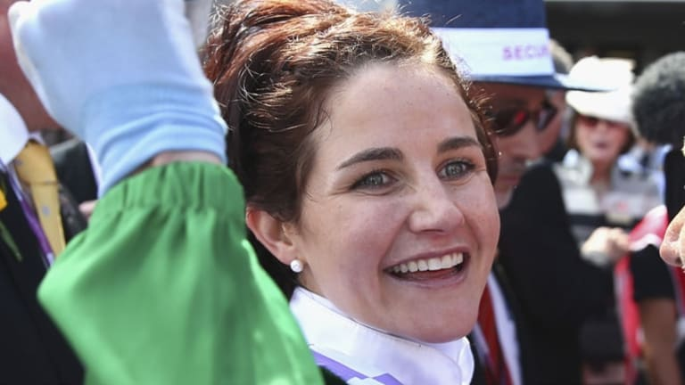 Triumphant: Michelle Payne has scored the biggest win of any female jockey in any race anywhere in the world.