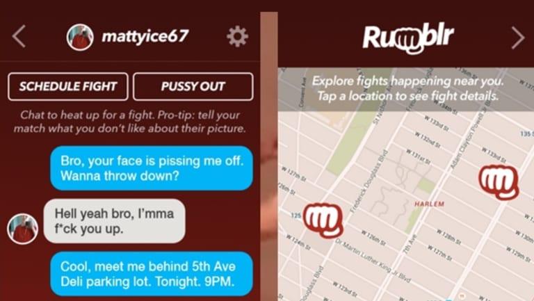 Screenshot of the Rumblr app.