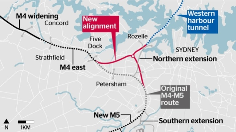 The revised path of the WestConnex.