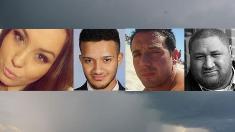 Four of the nine  people who died in last year's thunderstorm asthma epidemic: Hope Carnevali (left), Omar Moujalled, Apollo Papadopoulos, and Clarence Leo.