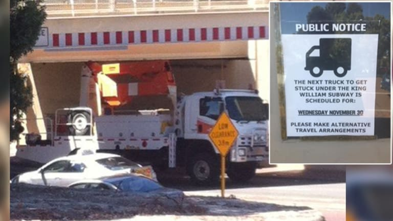 In November a truck got stuck under the bridge - almost as a local joke flyer had predicted.