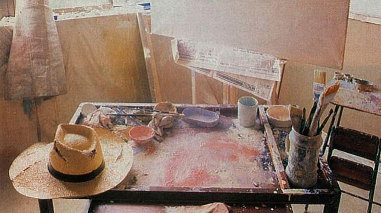 """The artist's studio in Tasmania. He has always painted with his hat on: """"It gives me a sense of horizon."""""""