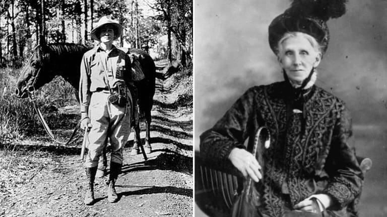 New Queensland electorate names: Scientist Dorothy Hill, left, pictured during a geological excursion circa 1929, and Emma Miller, right, a champion of equal pay in the 19th century.