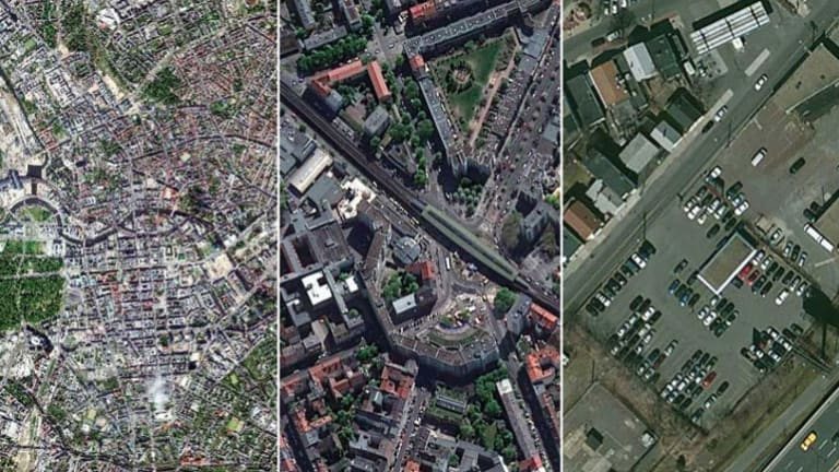 Closer and closer: Image from a DigitalGlobe satellite showing low, medium and high resolution images.