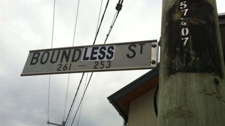 Signs at Boundary Street, West End, were changed to 'Boundless Street' by advocates for a name change.