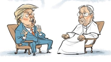"""In a March 2016 cartoon, David Pope depicted """"President Trump"""" meeting """"Pope George [Pell]"""" under the headline """"Men of destiny""""."""