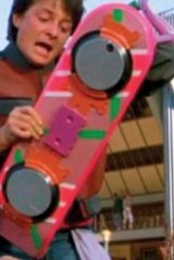 Marty McFly (Michael J. Fox) and his hover board.
