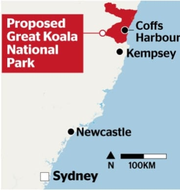 Red area: Map of the proposed great koala national park.
