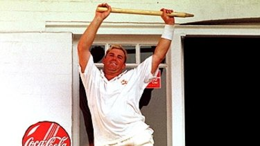 Shane Warne performs a victory dance at Trent Bridge in 1997.