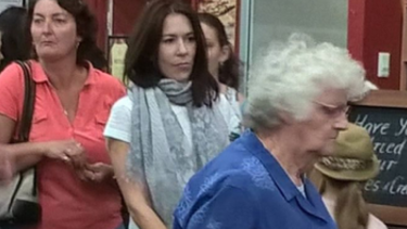 Princess Mary queues at the Margaret River Chocolate Factory.